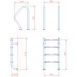 Лестница  без поручней 4 ступени Flexinox ESC PT