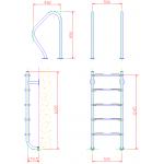 Лестница  без поручней 5 ступеней Flexinox ESC PT