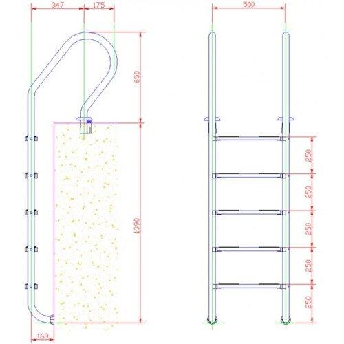 Лестница нержавейка 5 ступени PARALLEL
